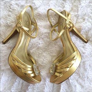 Jessica Simpson Gold Platform Strappy Heel
